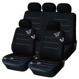 9 قطع سيزونز العالمي غطاء مقعد السيارة التطريز الأسود مريح للتنفس