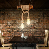 Industrial Hemp Rope Pendant Lighting Bar Lamp Home Vintage Ceiling Fixture Without Bulb