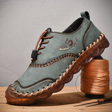 Men Soft Microfiber Leather Breathable Hand Stitching Casual Shoes