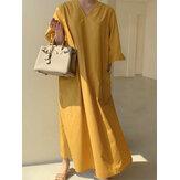 المرأة الصيف الصلبة اللون نفخة فضفاضة فستان ماكسي مع جيوب