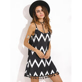 Loose Wavy Grain Fringed Sling Chiffon Dress