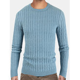 Suéter de color sólido para hombre Cuello Twist Knitted Regular Fit Pullover