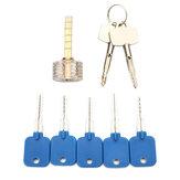 透明クロスS字型練習パドロック鍵屋で5個の試用キーセット
