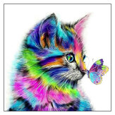 DIY 5D Diamond Painting 30 * 30 Colorful Cat Art Craft Kit Diamond Painting Tools Handgemaakte wanddecoraties Geschenken voor kinderen Volwassen