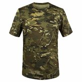 Summer Racing Sports Army Camo Tee Camouflage T Shirt Manica corta Caccia casual
