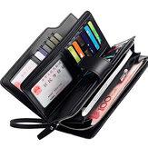 Männer Leder Geschäft lange Brieftasche Kreditkarten Organizer