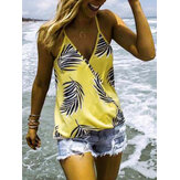 Tropical Planta estampado con cuello en v sin mangas verano Hawaii Tank Tops