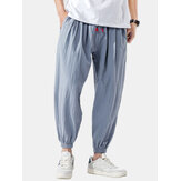 Mens Fashion Cotton Drawstring Loose Comfy Solid Color Causal Jogger Pants