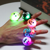 LED Halloween Flash Pompoen Vleermuis Skelet Glow Ring Decoraties Accessoires Fluorescerende Ring Helder Speelgoed Kids Gift