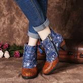 SOCOFY Elegant Splicing Floral Print Shoelace Deco Stacked High Heel Warm Lined Zipper Ankle Boots