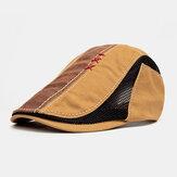 Malha de sutura de mão masculina de algodão respirável casual guarda sol boina boné plano Chapéu
