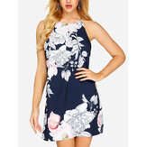 Original              Off Shoulder Floral Print Halter Backless Mini Dress