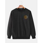 Мужские Дизайн Sun Totem Cotton Simple Long Sleeve Pullover Sweatshirts