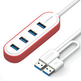 Samzhe 1.2m USB 3.0 to 4-Port USB 3.0 Hub with Double USB Plug