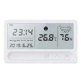 Multifunción Carga Termómetro Higrómetro Automático Electrónico Temperatura Humedad Monitor Alarma Reloj Pantalla grande LCD