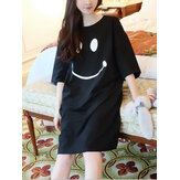 Women Funny Smile Print Round Neck Home Breathable Nightgown
