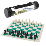 43*43cm Outdoor Travel Tournament Size Chess Game Set Plastic Pieces Green Roll Portable Family Game