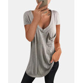 Solid Color V-neck Short Sleeve Chest Pocket Casual T-shirts For Women