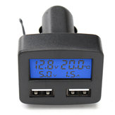 12V 24V Universal Dual USB Interface Car Charger With Voltmeter Ammeter Thermometer LCD Display