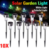 10PCS Stainless Steel Solar Powered LED Lawn Light Outdoor Home Garden Decorative Lamp