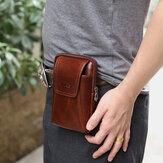 Men Genuine Leather 6 inch Phone Bag Belt Bag Waist Bag For Business
