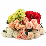 10 Head 1 Bouquet Artificial Flowers Rose Flower Silk Rose Flower Home Room Wedding Party Decor Photography Prop