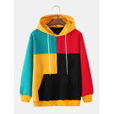 Mens Colorful Patchwork Kangaroo Pocket Long Sleeve Hoodies