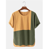 Mens Casual Patchwork Crew Neck Color Block Breathable T-Shirts