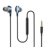 BlitzWolf® AIRAUX AA-HE2 Dual Dynamic Drivers Écouteurs magnétiques 3,5 mm Contrôle filaire Écouteurs Stéréo Bass In Ear Headset Avec Micro