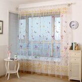 Honana WX-C6 Colorido flor de mariposa Voile cortina Panel ventana divider Sheer Cortina Home Decor