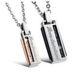 Fashion Titanium Steel Rectangular Box Men Women Love Couple Necklace Gift