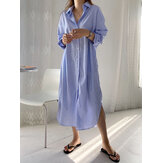 Women Brief Style Striped Print Button Split Hem Long Sleeve Shirt Dress With Pocket