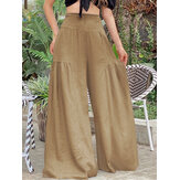 Solid Color High Elastic Waist Wide Leg Pants Women Casual Bottoms