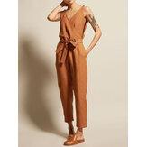Women Cotton Sleeveless V-Neck Side Pockets Jumpsuit