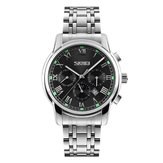 SKMEI 9121 Casual Men Quartz Watch Luxury Stainless Steel Strap Date Display Bussiness Watch