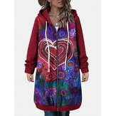 Women Vintage Heart Floral Printed Zipper Front Hooded Coat With Pocket