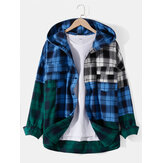 Mens Cotton Patchwork Plaid Chest Pocket Hooded Shirts