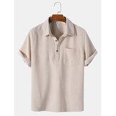 Mens Corduroy Solid Color Lapel Short Sleeve Henley Shirt