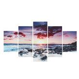 5 parça duvar sanatı tuval günbatımı deniz duvar sanatı resim tuvali boyama ev dekor duvar resimleri oturma odası için yok çerçeveli