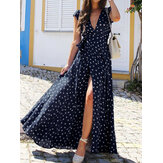Polka Dots V-neck Short Sleeve Print Split Party Wrap Maxi Dress