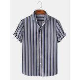 Men Cotton Colorful Stripe Soft Breathable Short Sleeve Casual Holiday Shirts