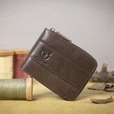 Bullcaptain RFID Antimagnetic Vintage Hakiki Deri 11 Kart Yuvaları Para Çanta Erkekler İçin Cüzdan