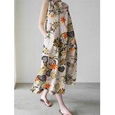 Женщины Растение Свободное макси без рукавов с цветочным принтом Платье С боковым карманом