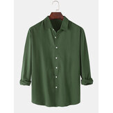 Mens Cotton Solid Color Basic Lapel Regular Fit Button Up Long Sleeve Shirts