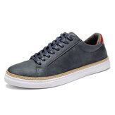 Menico Hommes Classic Chaussures de Skate Comfy Soft Baskets en cuir à semelle à lacets