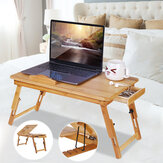Nature Bamboo Folding with Heat Dissipation Hole Drawer Laptop Desk Computer Mackbook Desktop Holder Bed Desk Tray Stand
