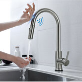 Brushed Nickel Stainless Steel Kitchen Sink Faucets Mixer 360 ° Rotation Smart Touch Sensor Pull Out Hot Cold Water Mixer Tap Crane