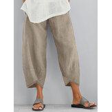 Pantalon de poche latérale lâche taille élastique pour femme