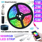 1M / 2M / 3M / 4M / 5M WiFi Inteligente RGB LED Strip Light APP Control Lâmpada flexível Trabalho com Amazon Alexa Google Home DC5V