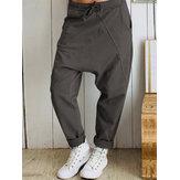 Calça feminina casual solta elástica com cintura elástica Harem longa e sólida Calças